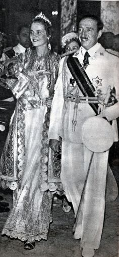 Queen Geraldine Apponyi and King Zog, for the tenth anniversary of the proclamation of the Albanian royalty (1939):