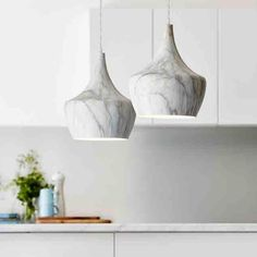 Three Bird Renovations show how to feature our Marmo Marble Pendant Light in the kitchen