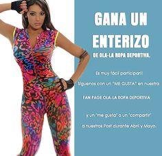 """GANA UN ENTERIZO DE OLA-LA ROPA DEPORTIVA.  Es muy fácil participar !! Siguenos con un """"ME GUSTA"""" en nuestra FAN PAGE OLA-LA ROPA DEPORTIVA y un """"me gusta"""" o un """"compartir"""" a nuestros Post durante Abril y Mayo.  http://www.ola-laropadeportiva.com/…/63-enterizo-estampado-…  #Ropadeportiva #Fitness #ComercioElectronico"""