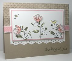 Supplies: Stamps:Sweet Summer, So Happy for You Paper: Blushing Bride, Crumb Cake, White Ink: Black Accessories: Blushing Bride ribbon, eyelet border punch, dimensionals, self adhesive pearls, copic markers