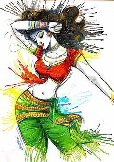 Dance Paintings, Indian Art Paintings, Modern Art Paintings, Cool Art Drawings, Art Drawings Sketches, Rajasthani Art, Sexy Painting, Africa Art, India Art