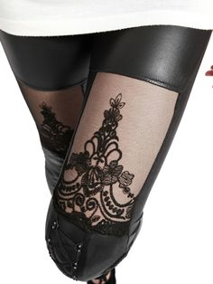 Lace Leggings With Tape Detail