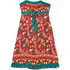Pre-owned Plenty by Tracy Reese Red & Green Floral Dress ($79) ❤ liked on Polyvore featuring dresses, red pleated dress, strapless dress, floral dress, green dress and pleated dress