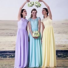 blue bridesmaid dress Picture - More Detailed Picture about wejanedress  Elegant Cap Sleeves Long Yellow Mint Pink Light Blue Bridesmaid Dresses  2017 robe ... deed035d42b5