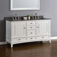 Quality, function and design come together in the Cambridge collection by Mission Hills®. This popular design is now available with a traditional white cabinet topped with a gray quartz countertop. The transitional design has ample storage space for all your bathroom necessities. Six functional drawers with soft close glides and two doors with soft close…