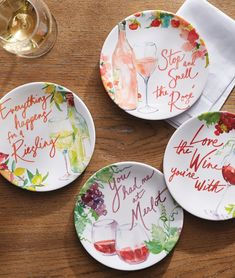 Serve guests with this whimsy set of plates, scripted with fun-loving phrases any wine enthusiast can appreciate. Ultra-durable and top-rack dishwasher safe. Shatter-proof and made with the highest quality of melamine.