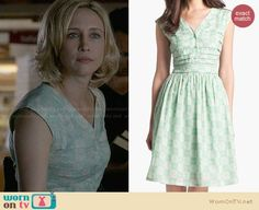 Norma's mint green floral dress on Bates Motel.  Outfit Details: https://wornontv.net/28374/ #BatesMotel