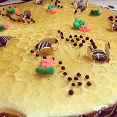 It's that time of year: Honey Lemon Bee tart season!!! #honey #lemon #tart #bees #spring #flowers #beehive #chocolate #beautifulweather