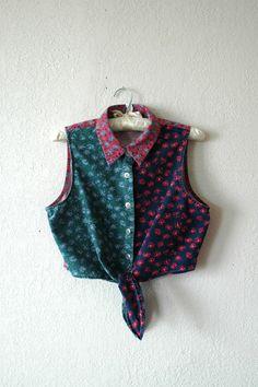 90's color block tie-waist crop top (SOLD to Cali)