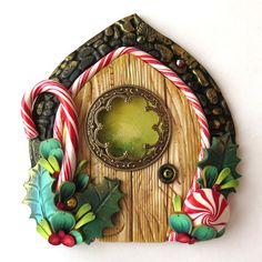 Candy Cane Elf Door Pixie Portal  Miniature Fairy by Claybykim