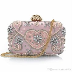4fbc46f05c Mystic River New Design Beaded Clutch Girls Wedding Purses Party Bag Flower  Stereo Hasp Diamond Heart Shape Princess Pink Clutch