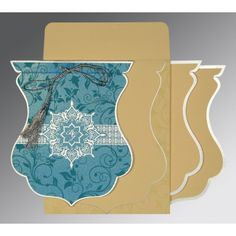Give your wedding a special feel with our exclusive Blue, Shimmer Paper, South Indian Wedding Cards - SO-8229M