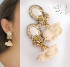 Soutache jewelry: earrings, necklaces and bracelets by sutaszula Cream Earrings, Small Earrings, Circle Earrings, Rose Gold Earrings, Gold Hoop Earrings, Stud Earrings, Bridal Necklace, Bridesmaid Earrings, Bridal Jewelry