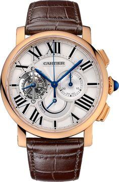 Rotonde de Cartier tourbillon watch, chronograph, 8-day power reserve 45 mm, manual, 18K pink gold