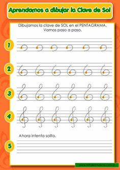 Aprendiendo a dibujar la clave del SOL.. www.mitallermusical.com.ar Beginner Piano Lessons, Music Lessons For Kids, Music For Kids, Guitar Classes, Music Theory Worksheets, Kindergarten Music, E Piano, Music Do, Piano Teaching