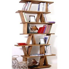 Libreria Zig Zag colore scuro in legno massello di acacia | librerie ...