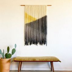 Home Textile Bohemia woven hand made tassel tapestry living room channel hanging painting soft suit pendant wall hanging mandal Yarn Wall Art, Yarn Wall Hanging, Hanging Tapestry, Wall Tapestry, Wall Hangings, Large Tapestries, Diy Wall, Dip Dyed, Cotton Rope