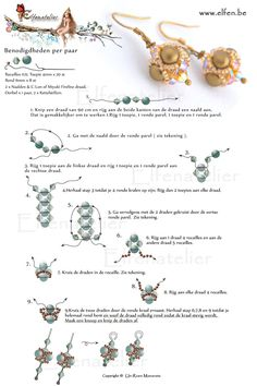 FREE Tutorial for Pearl and Bicone Beaded Bead Earrings by Elfenatelier. Use: seed beads 11/0, 20 bicone beads 4mm, 8 round beads 6mm