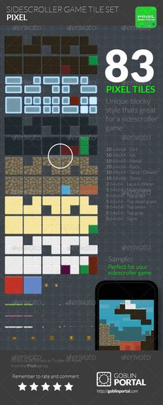 Sidescroller Game Tile Set - Tilesets Game Assets