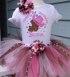 Happy Birthday Cowgirl shirt with Tutu and Hair Bow- Great for photos | Turnabout - Clothing on ArtFire