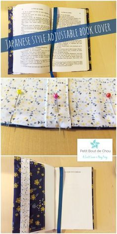Make this Japanese Style Adjustable Book Cover with free pattern! A super easy sewing project to protect your books with style.