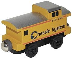 Wooden Toy Train- Caboose -- Chessie System (wht100513) Whittle Wooden Train Cars