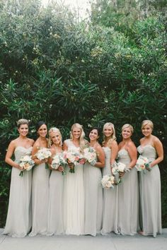 We love this bridal party look: http://www.stylemepretty.com/2015/03/01/traditionally-elegant-la-jolla-wedding/ | Photography: Emily Blake - http://emilyblakephoto.com/