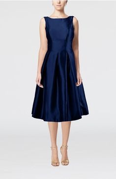Dark Blue Simple A-line Bateau Sleeveless Tea Length Pleated Bridesmaid Dresses - iFitDress.com