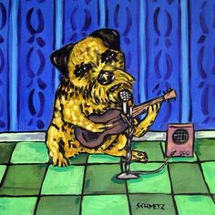 Chow Chow dog playing stand up bass dog art tile coaster gift music room