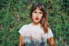 JEANNE DAMAS. Tee and Red lips. All you need <3