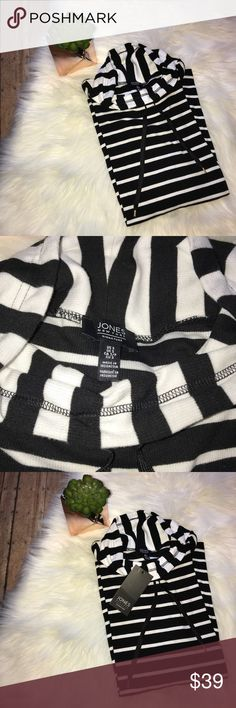 "NWT Jones New York Cowl Neck Striped Top NWT Jones New York Black & White Striped Top - size small - bust 17"" sleeve length 28.5"" length front 26"" back 29"" Jones New York Tops Tees - Long Sleeve"