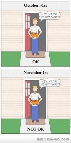 October 31st vs. November 1st.