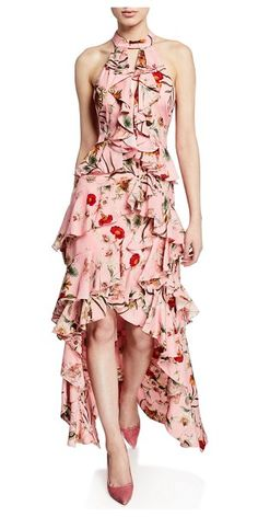 1e6fd342057 Badgley Mischka Collection Floral-Print High-Low Tiered Ruffle Halter Gown