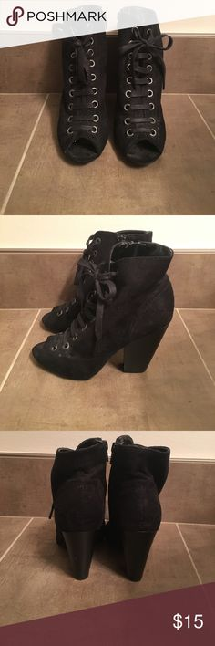 "Fioni Black Lace Up Booties Black lace up booties. Perfect for any occasion! Heel is approximately 3.5"". Small marks as pictures but are still in great condition. Size 6. More info can be provided on request! FIONI Clothing Shoes Lace Up Boots"
