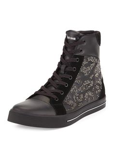 a9aa8d43795e Just Cavalli Mens Leather Studded High-Top Sneaker