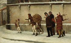 Josef Kinzel - Straßenartisten bei winterlichen Heimweg (Уличные артисты зимой возвращаются домой).