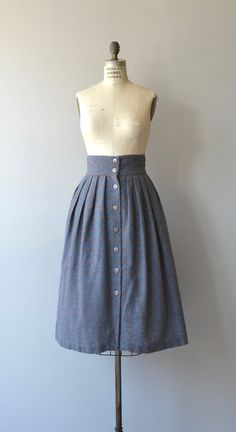 Vintage 1970s gray wool skirt with fine red graph patter, very high, fitted waist and button front. Unlined.  --- M E A S U R E M E N T S ---  fits