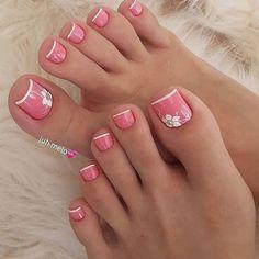 Pretty Toe Nails, Cute Toe Nails, Gorgeous Nails, Ombre Nail Designs, Short Nail Designs, Toe Nail Designs, French Pedicure Designs, Elegant Nails, Stylish Nails