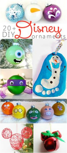 20+ DIY Disney ornaments | Lots of fun kids craft ideas for your Christmas decorating! Frozen ornaments, Ninja Turtle ornaments, Mickey Mouse ornaments and Disney princess ornament ideas! So fun! fun kids crafts, kid ideas, #kids #diy kids diy ideas