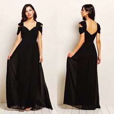 Dark Desire off shoulder black maxi chiffon bridesmaid dress