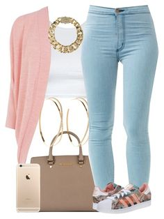 """""""Peach Sunday."""" by livelifefreelyy ❤ liked on Polyvore featuring Oasis, MICHAEL Michael Kors, Lana, adidas Originals and AllSaints"""