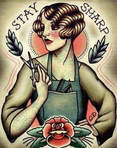Sailor Jerry, was without a question the most sought after artist for Sailor Jerry tattoos and also noticeable tattoo musicians throughout the Cosmetology Tattoos, Hairstylist Tattoos, Hairdresser Tattoos, Cosmetologist Tattoo, Tattoo Girls, Girl Tattoos, Tatoos, Shear Tattoos, Sailor Jerry