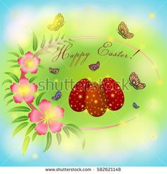Easter greeting card with pink flowers and  eggs, butterfly on green, blue background. Lettering. Vector illustration.