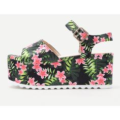SheIn(sheinside) Flower Print Platform Wedge Sandals (1,190 THB) ❤ liked on Polyvore featuring shoes, sandals, ankle strap high heel sandals, green wedge sandals, floral wedge sandals, peep toe sandals and chunky-heel sandals