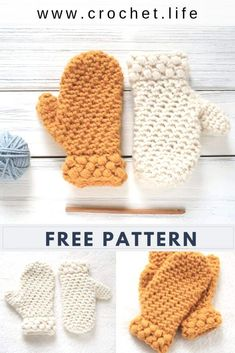 Free Crochet Mitten Pattern with Puff Stitch Cuff. Easy to crochet kids mitten pattern by / - Gathered Bud Mitten Crochet Baby Mittens, Crochet Mitts, Crochet Mittens Free Pattern, Crochet Bebe, Easy Crochet Patterns, Crochet For Kids, Knitting Patterns, Things To Crochet, Knitting Tutorials