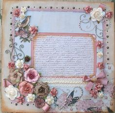 Shabby Chic Romantic Rose Premade 12x12 Layout Scrapbook Page