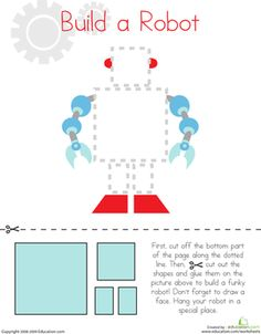 Preschool Fine Motor Skills Worksheets: Cutting Squares and Rectangles: Build a Robot Worksheet