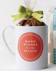 "For a cozy winter gift, fill a mug with cocoa mix, then print a ""Warm Wishes for the Season"" sticker on adhesive paper. #marthastewart #christmas #christmastree #holidaydecor"