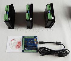 CNC mach3 usb 3 Axis Kit, ST-M5045 3 Axis Driver replace M542,2M542 + mach3 4 Axis USB CNC Stepper Motor Controller card 100KHz