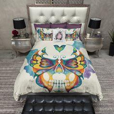 Watercolor Butterfly Skull Duvet Bedding Sets